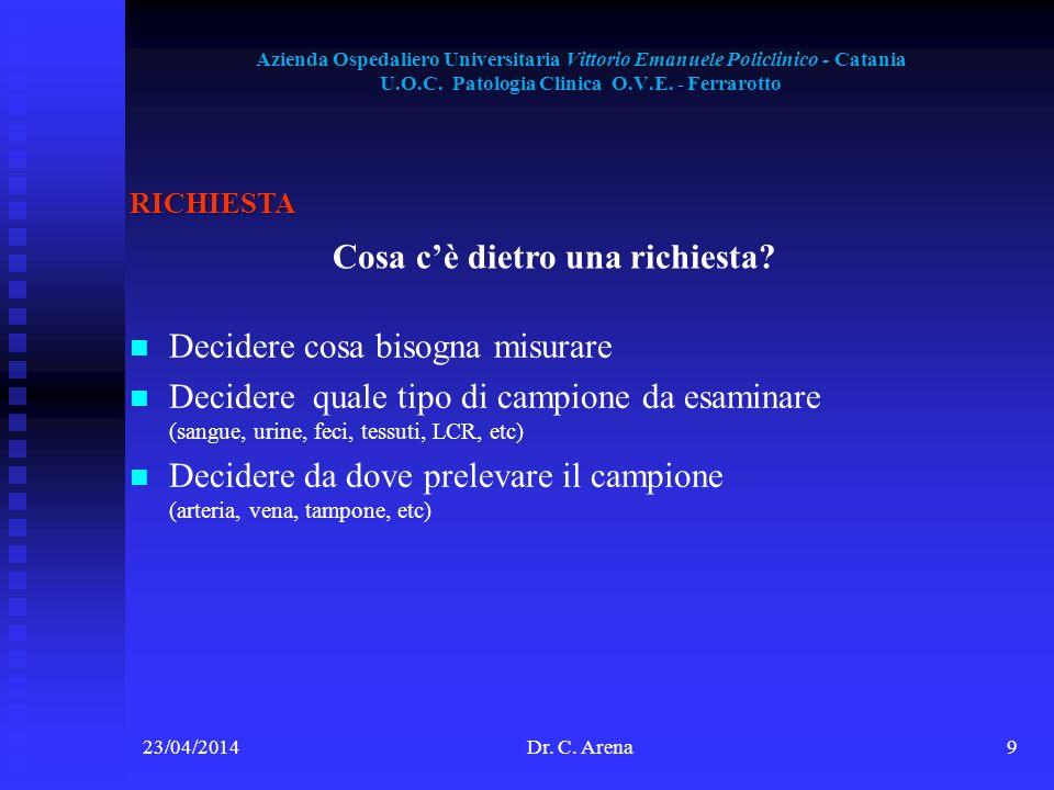 Azienda Ospedaliero Universitaria Vittorio Emanuele Policlinico - Catania U.O.C. Patologia Clinica O.V.E. - Ferrarotto 23/04/2014Dr. C. Arena9 RICHIES
