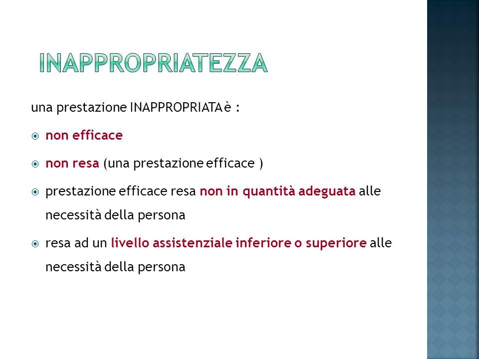 una prestazione INAPPROPRIATA è : non efficace non resa (una prestazione efficace ) prestazione efficace resa non in quantità adeguata alle necessità