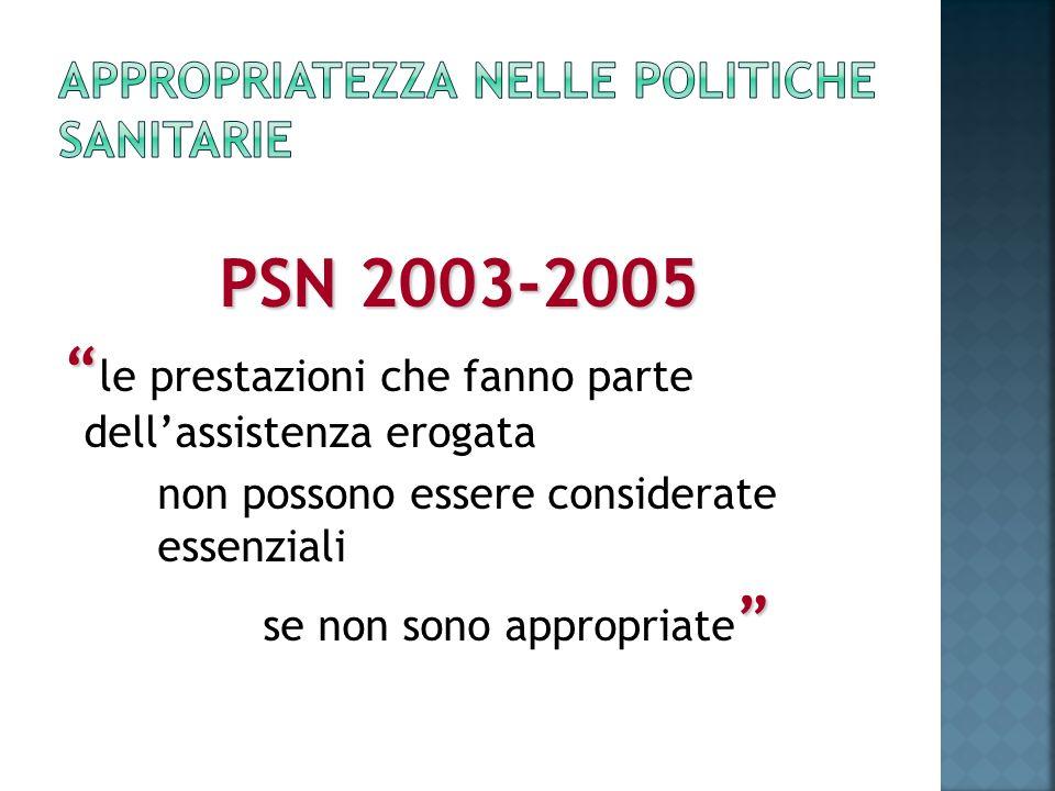 PSN 2003-2005 le prestazioni che fanno parte dellassistenza erogata non possono essere considerate essenziali se non sono appropriate