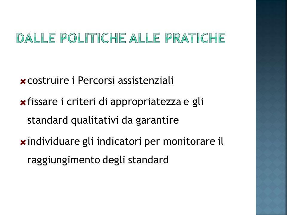 costruire i Percorsi assistenziali fissare i criteri di appropriatezza e gli standard qualitativi da garantire individuare gli indicatori per monitora