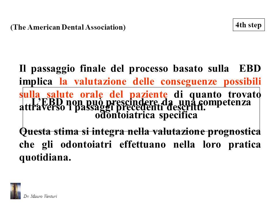 Il passaggio finale del processo basato sulla EBD implica la valutazione delle conseguenze possibili sulla salute orale del paziente di quanto trovato