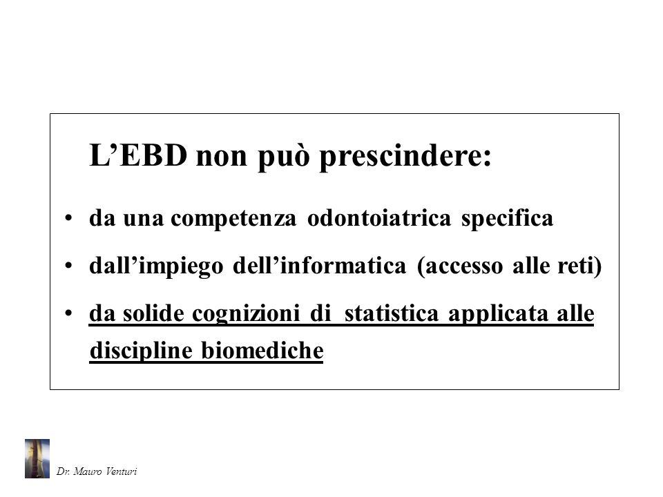 LEBD non può prescindere: da una competenza odontoiatrica specifica dallimpiego dellinformatica (accesso alle reti) da solide cognizioni di statistica