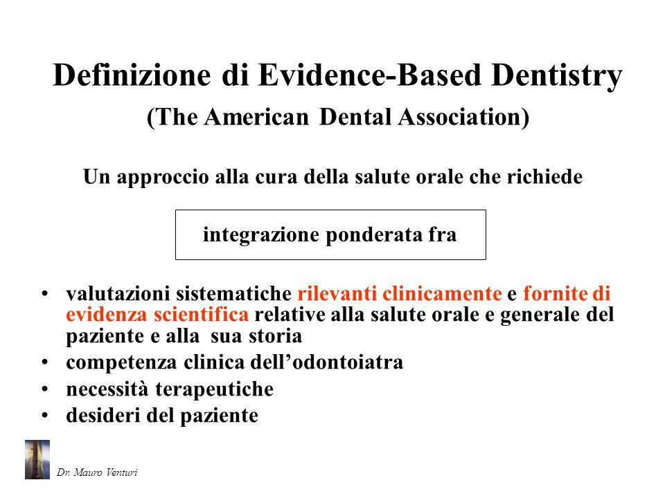Il processo basato sulla EBD consiste di (The American Dental Association) quattro passaggi Dr.