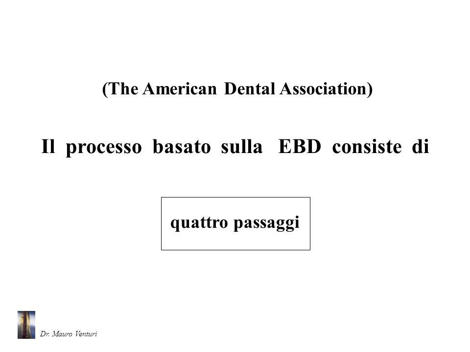 Il primo passaggio consiste nellindividuare una domanda precisa e di rilevanza clinica allo scopo di trovare la migliore evidenza disponibile in favore della salute orale dei pazienti 1st step (The American Dental Association) Dr.