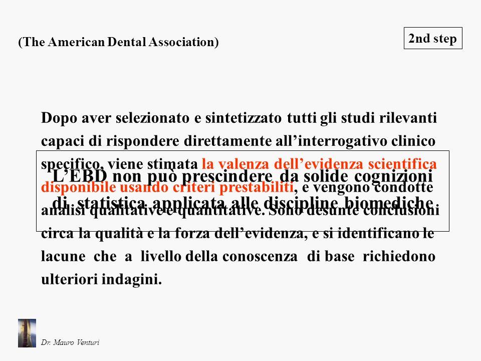 Il terzo passaggio di un processo basato sulla EBD consiste nel tradurre in dati utili alla pratica clinica quanto si è trovato a livello di systematic reviews 3rd step (The American Dental Association) LEBD non può prescindere da una competenza odontoiatrica specifica Dr.