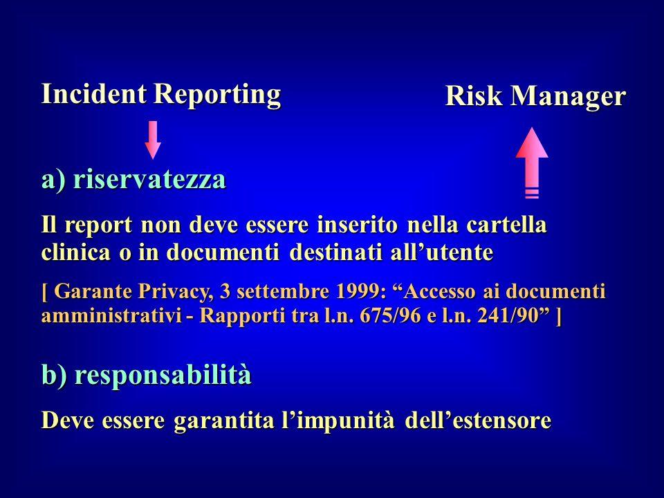 a) riservatezza Il report non deve essere inserito nella cartella clinica o in documenti destinati allutente [ Garante Privacy, 3 settembre 1999: Acce