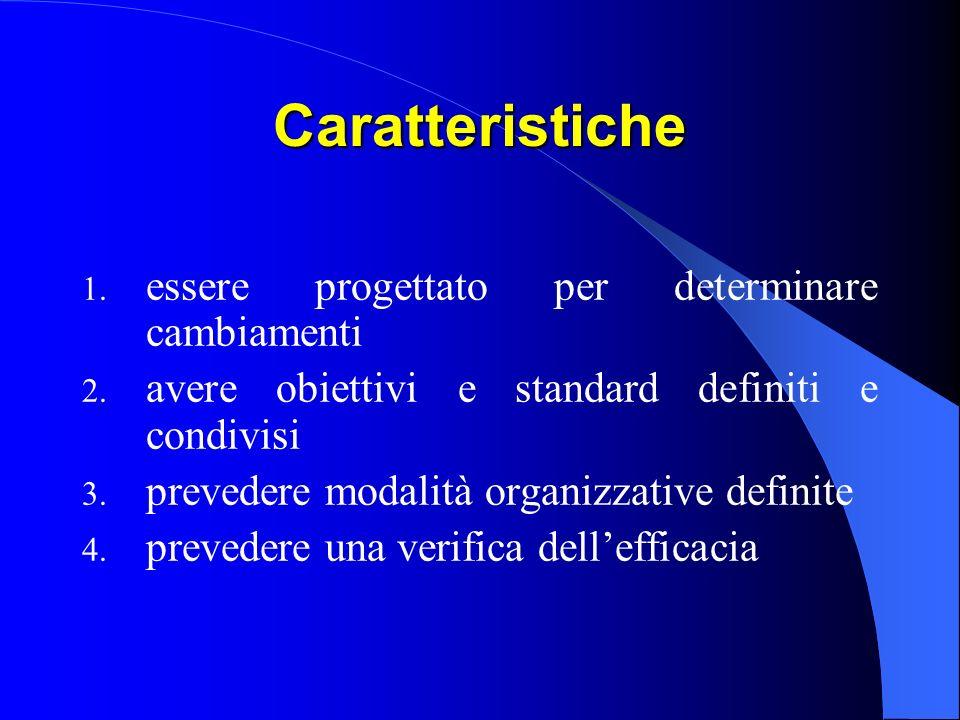 Caratteristiche 1.essere progettato per determinare cambiamenti 2.