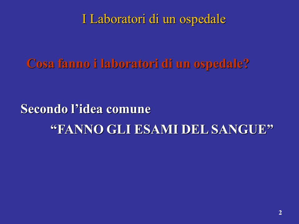 3 I Laboratori di un ospedale A cosa serve un sistema informativo allinterno di un laboratorio.