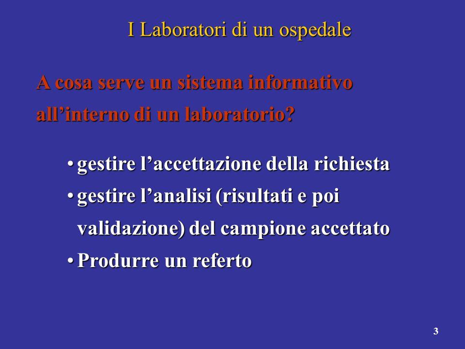 3 I Laboratori di un ospedale A cosa serve un sistema informativo allinterno di un laboratorio? gestire laccettazione della richiestagestire laccettaz