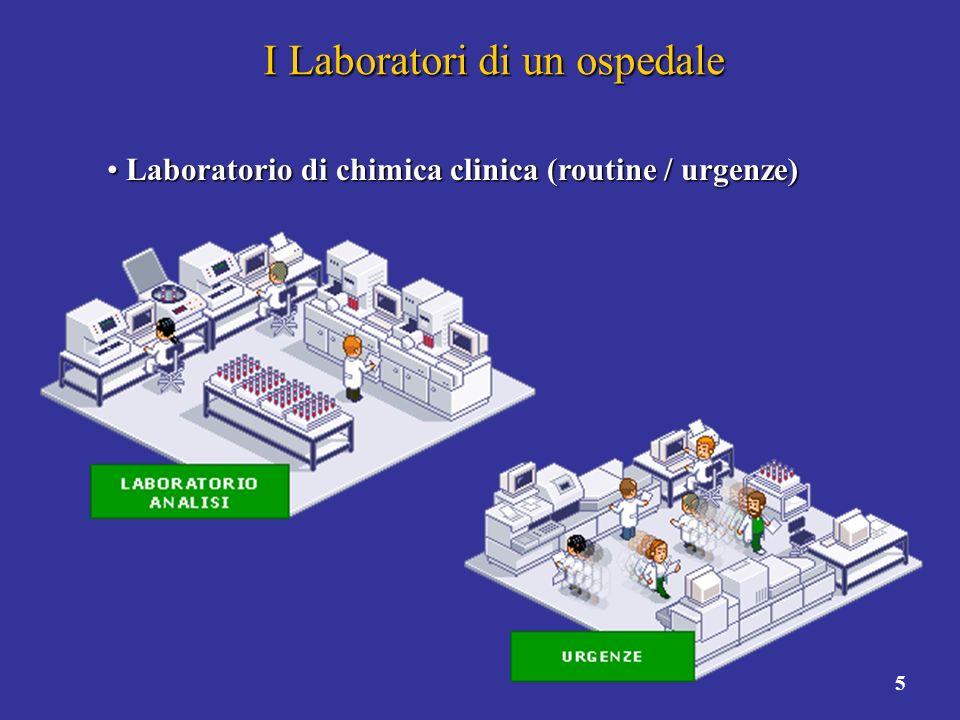 5 I Laboratori di un ospedale Laboratorio di chimica clinica (routine / urgenze) Laboratorio di chimica clinica (routine / urgenze)