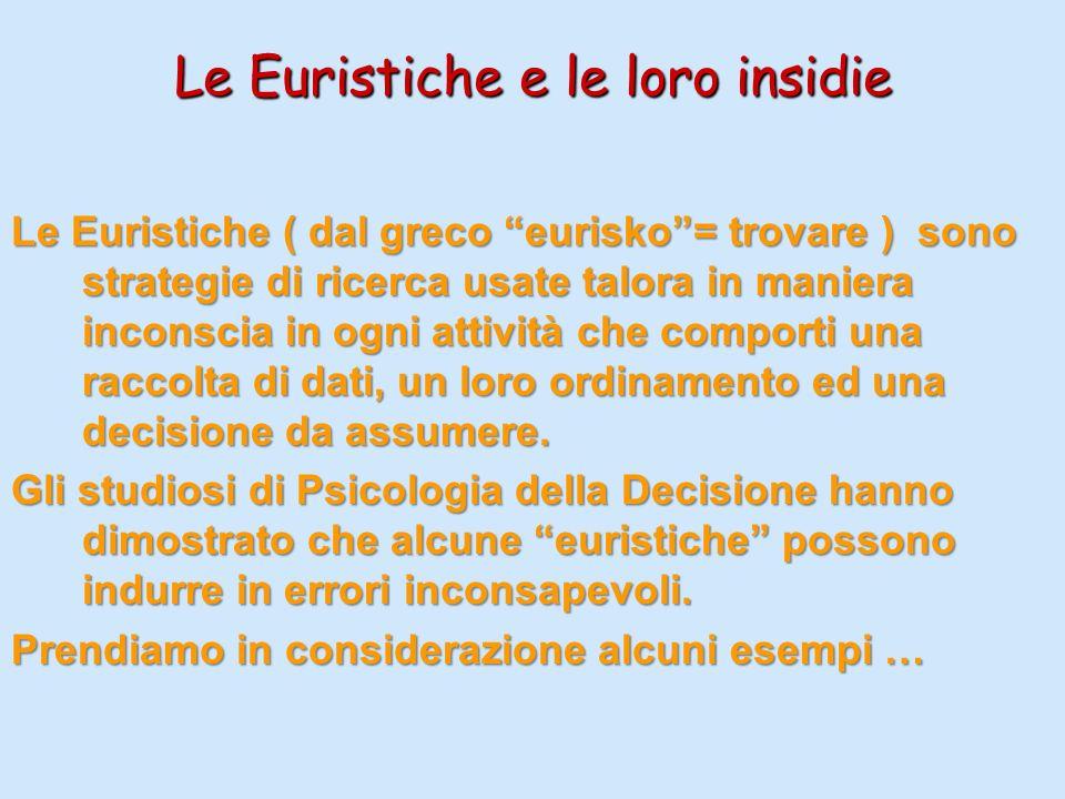 Le Euristiche e le loro insidie Le Euristiche ( dal greco eurisko= trovare ) sono strategie di ricerca usate talora in maniera inconscia in ogni attiv