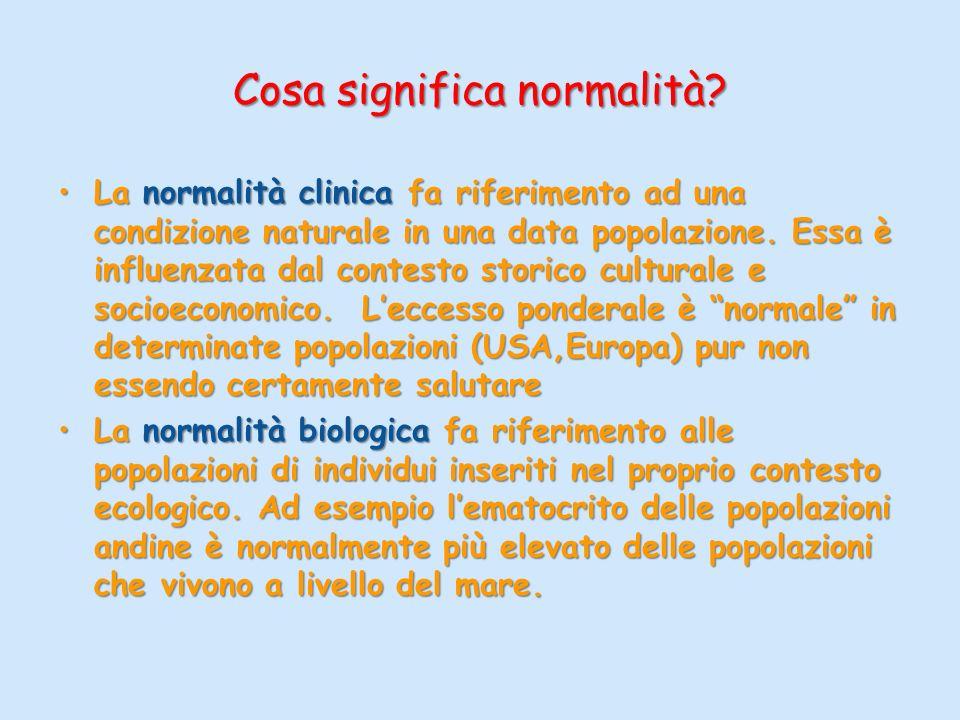 Cosa significa normalità? La normalità clinica fa riferimento ad una condizione naturale in una data popolazione. Essa è influenzata dal contesto stor