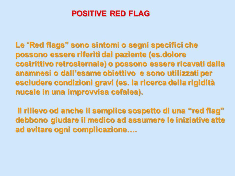 POSITIVE RED FLAG POSITIVE RED FLAG Le Red flags sono sintomi o segni specifici che possono essere riferiti dal paziente (es.dolore costrittivo retros