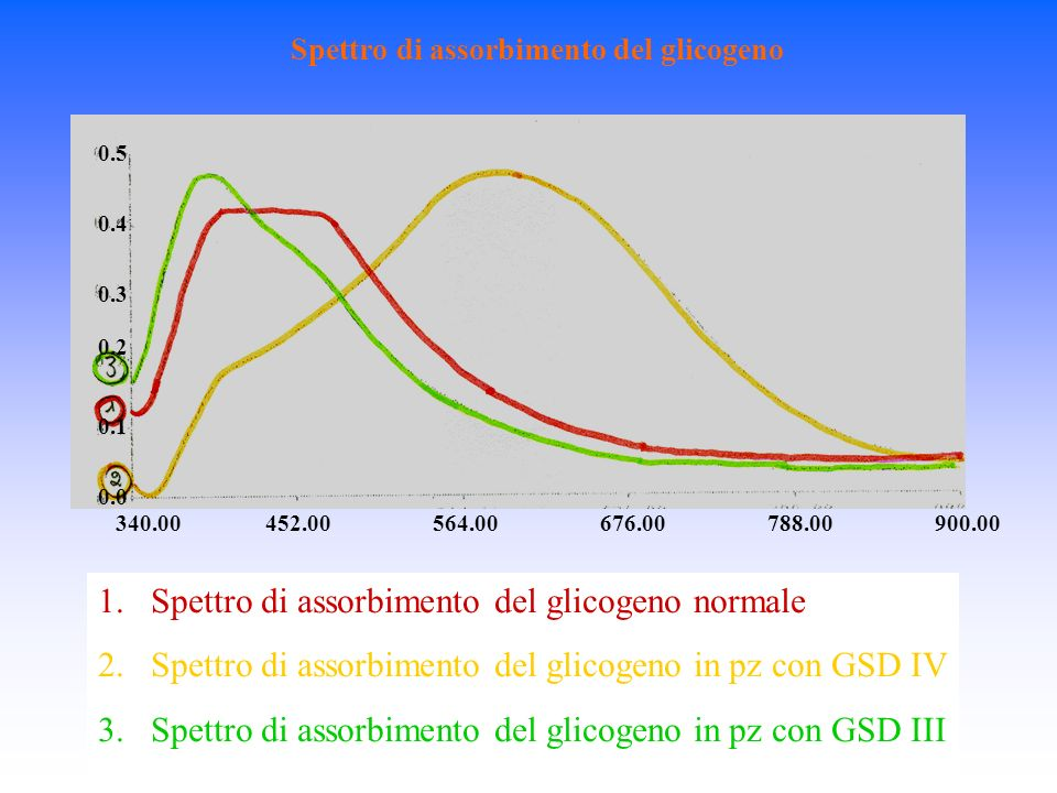 Spettro di assorbimento del glicogeno 340.00 0.0 0.1 0.2 0.3 0.4 0.5 452.00564.00676.00788.00900.00 1.Spettro di assorbimento del glicogeno normale 2.