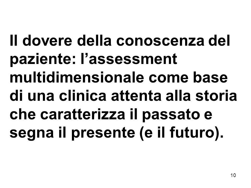 10 Il dovere della conoscenza del paziente: lassessment multidimensionale come base di una clinica attenta alla storia che caratterizza il passato e segna il presente (e il futuro).