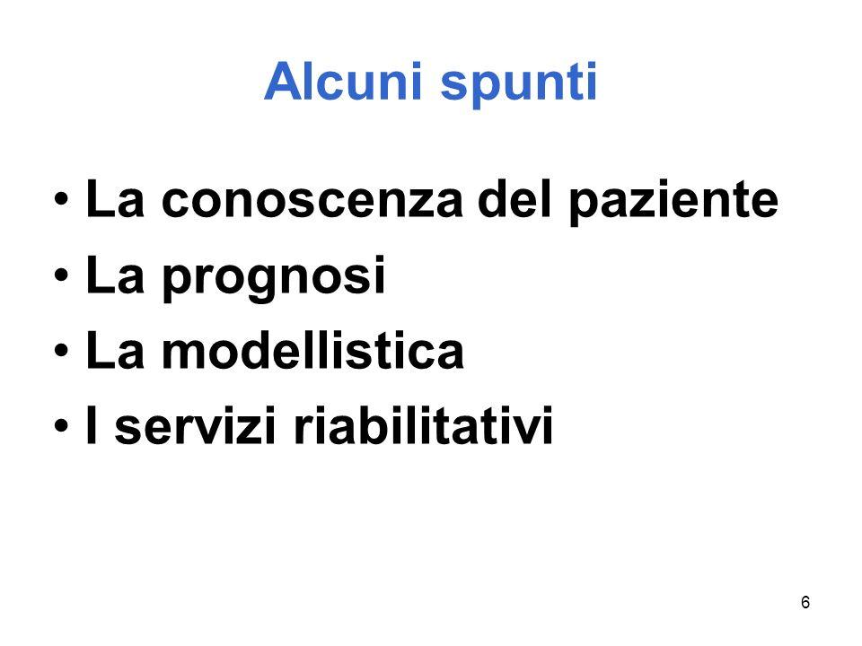 6 Alcuni spunti La conoscenza del paziente La prognosi La modellistica I servizi riabilitativi