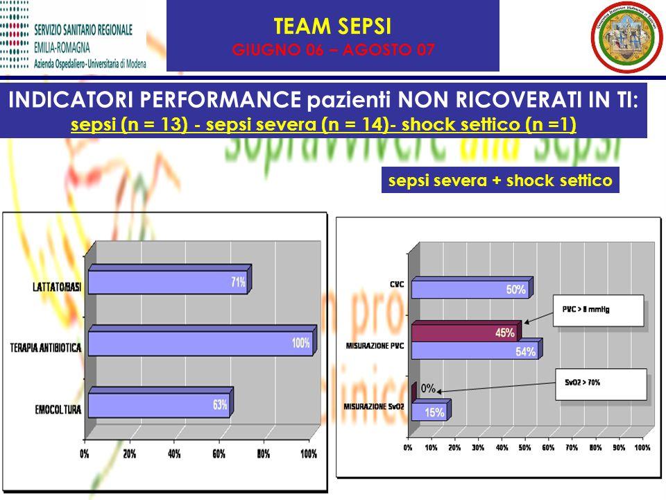 TEAM SEPSI GIUGNO 06 – AGOSTO 07 INDICATORI PERFORMANCE pazienti NON RICOVERATI IN TI: sepsi (n = 13) - sepsi severa (n = 14)- shock settico (n =1) sepsi severa + shock settico