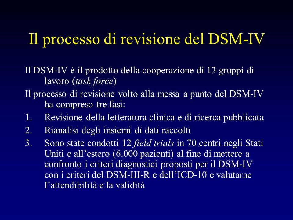 Il processo di revisione del DSM-IV Il DSM-IV è il prodotto della cooperazione di 13 gruppi di lavoro (task force) Il processo di revisione volto alla
