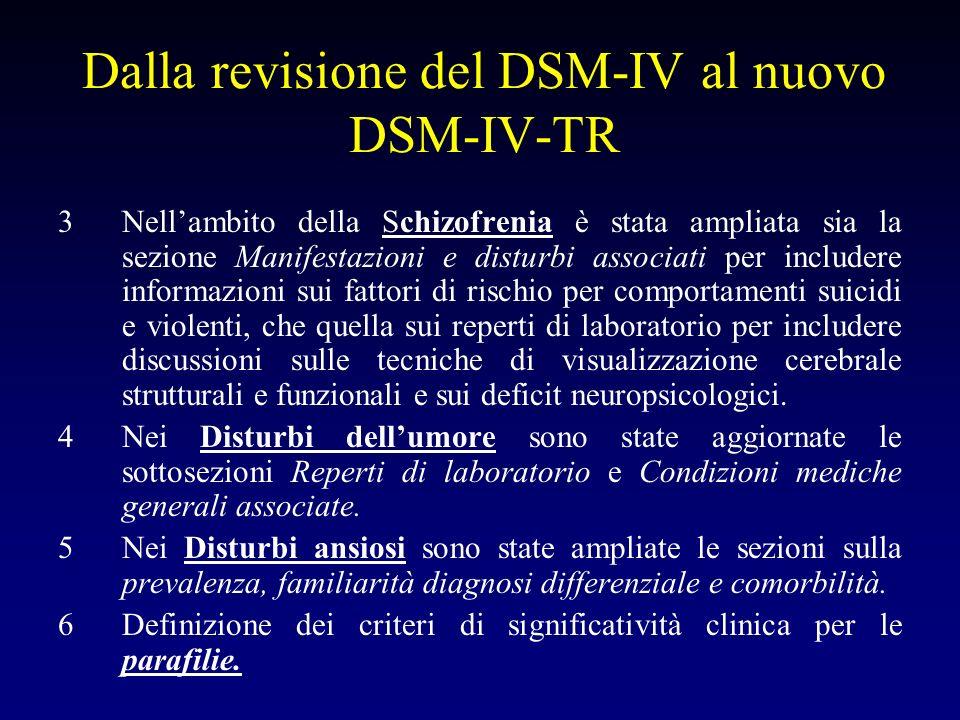 Dalla revisione del DSM-IV al nuovo DSM-IV-TR 3Nellambito della Schizofrenia è stata ampliata sia la sezione Manifestazioni e disturbi associati per i