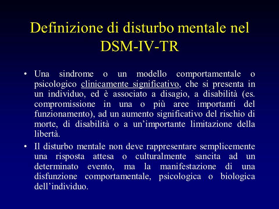Definizione di disturbo mentale nel DSM-IV-TR Una sindrome o un modello comportamentale o psicologico clinicamente significativo, che si presenta in u