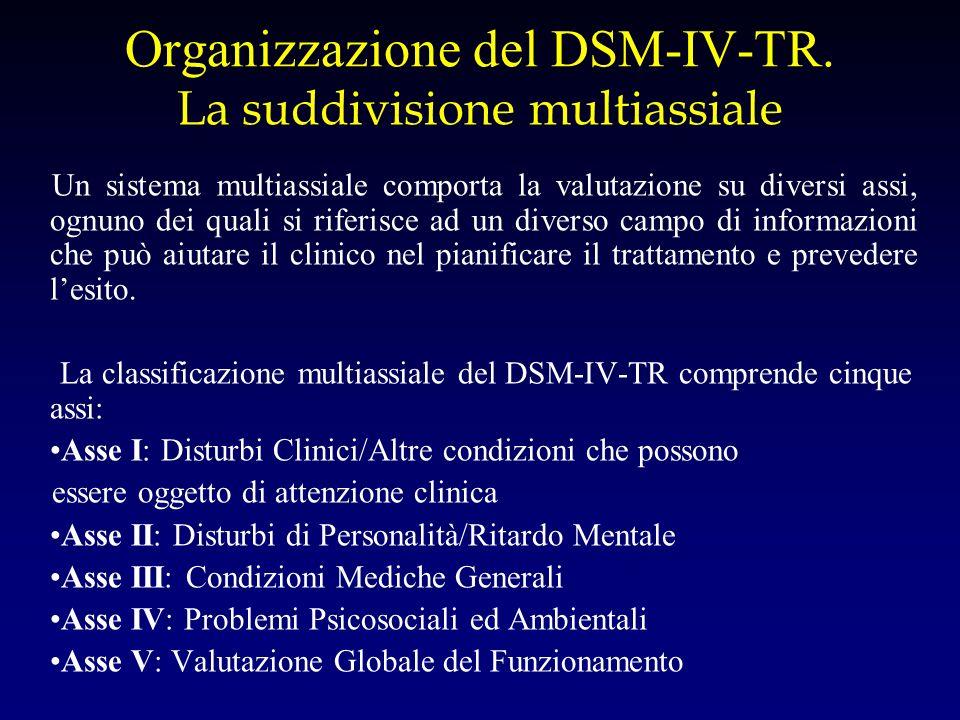 Organizzazione del DSM-IV-TR. La suddivisione multiassiale Un sistema multiassiale comporta la valutazione su diversi assi, ognuno dei quali si riferi