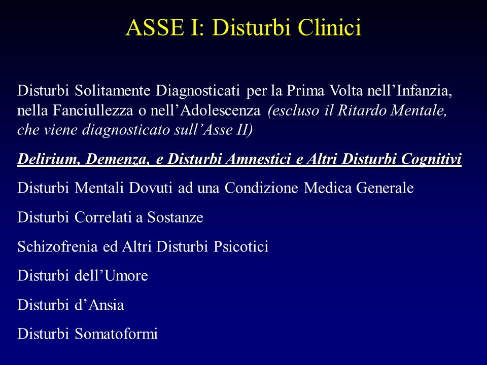 ASSE I: Disturbi Clinici Disturbi Solitamente Diagnosticati per la Prima Volta nellInfanzia, nella Fanciullezza o nellAdolescenza (escluso il Ritardo