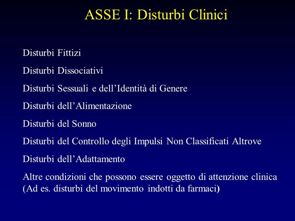 ASSE I: Disturbi Clinici Disturbi Fittizi Disturbi Dissociativi Disturbi Sessuali e dellIdentità di Genere Disturbi dellAlimentazione Disturbi del Son