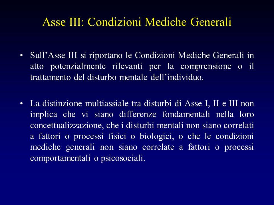 Asse III: Condizioni Mediche Generali SullAsse III si riportano le Condizioni Mediche Generali in atto potenzialmente rilevanti per la comprensione o