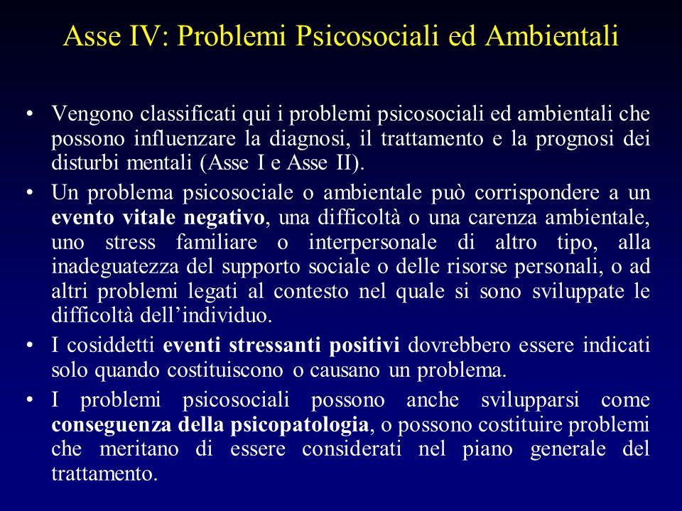 Asse IV: Problemi Psicosociali ed Ambientali Vengono classificati qui i problemi psicosociali ed ambientali che possono influenzare la diagnosi, il tr