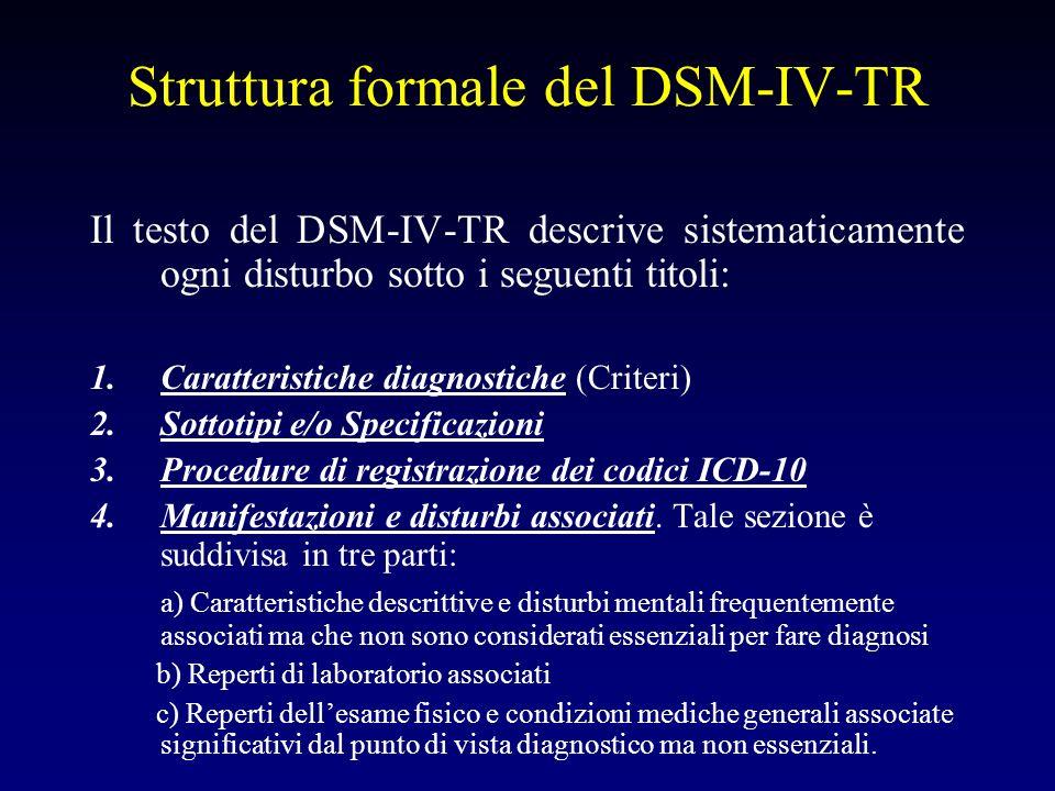 Struttura formale del DSM-IV-TR Il testo del DSM-IV-TR descrive sistematicamente ogni disturbo sotto i seguenti titoli: 1.Caratteristiche diagnostiche