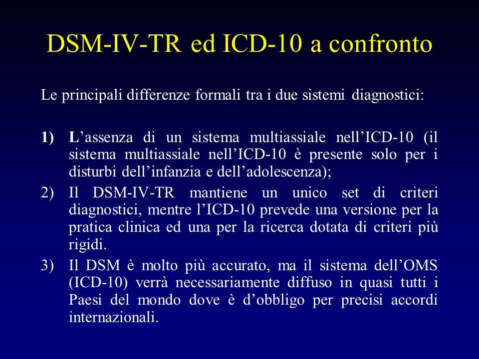 DSM-IV-TR ed ICD-10 a confronto Le principali differenze formali tra i due sistemi diagnostici: 1)Lassenza di un sistema multiassiale nellICD-10 (il s