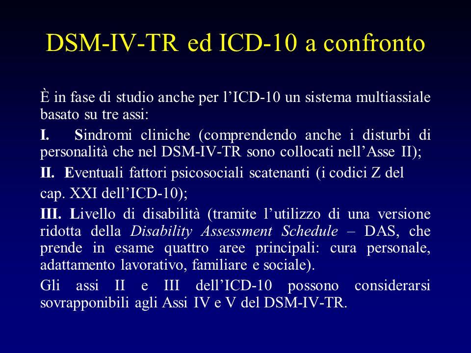 DSM-IV-TR ed ICD-10 a confronto È in fase di studio anche per lICD-10 un sistema multiassiale basato su tre assi: I. Sindromi cliniche (comprendendo a