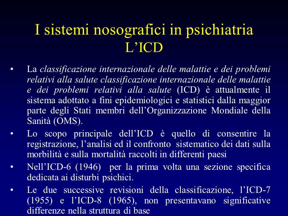 I sistemi nosografici in psichiatria LICD La classificazione internazionale delle malattie e dei problemi relativi alla salute classificazione interna