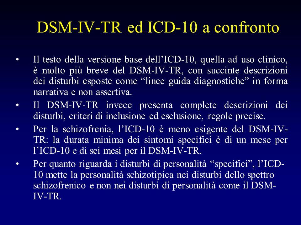 DSM-IV-TR ed ICD-10 a confronto Il testo della versione base dellICD-10, quella ad uso clinico, è molto più breve del DSM-IV-TR, con succinte descrizi