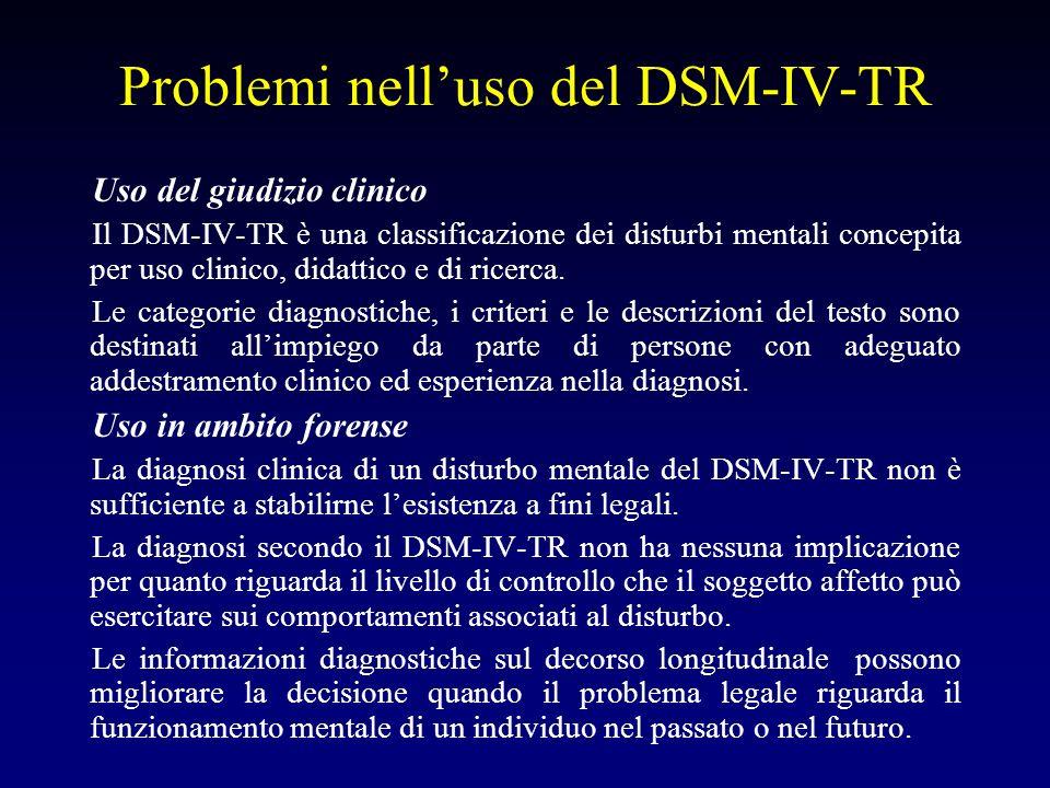 Problemi nelluso del DSM-IV-TR Uso del giudizio clinico Il DSM-IV-TR è una classificazione dei disturbi mentali concepita per uso clinico, didattico e