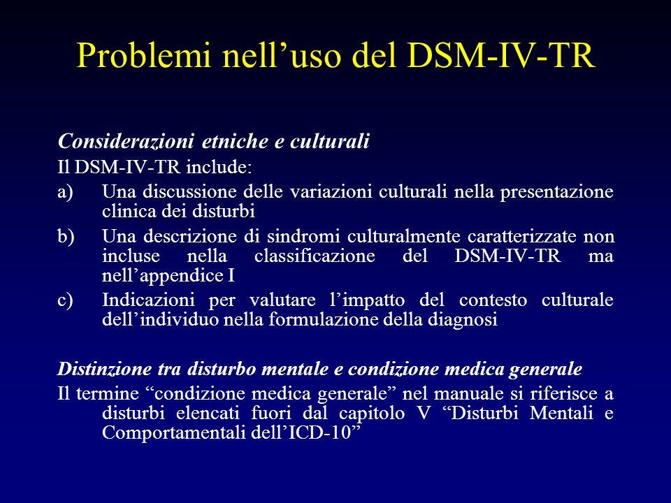 Problemi nelluso del DSM-IV-TR Considerazioni etniche e culturali Il DSM-IV-TR include: a)Una discussione delle variazioni culturali nella presentazio
