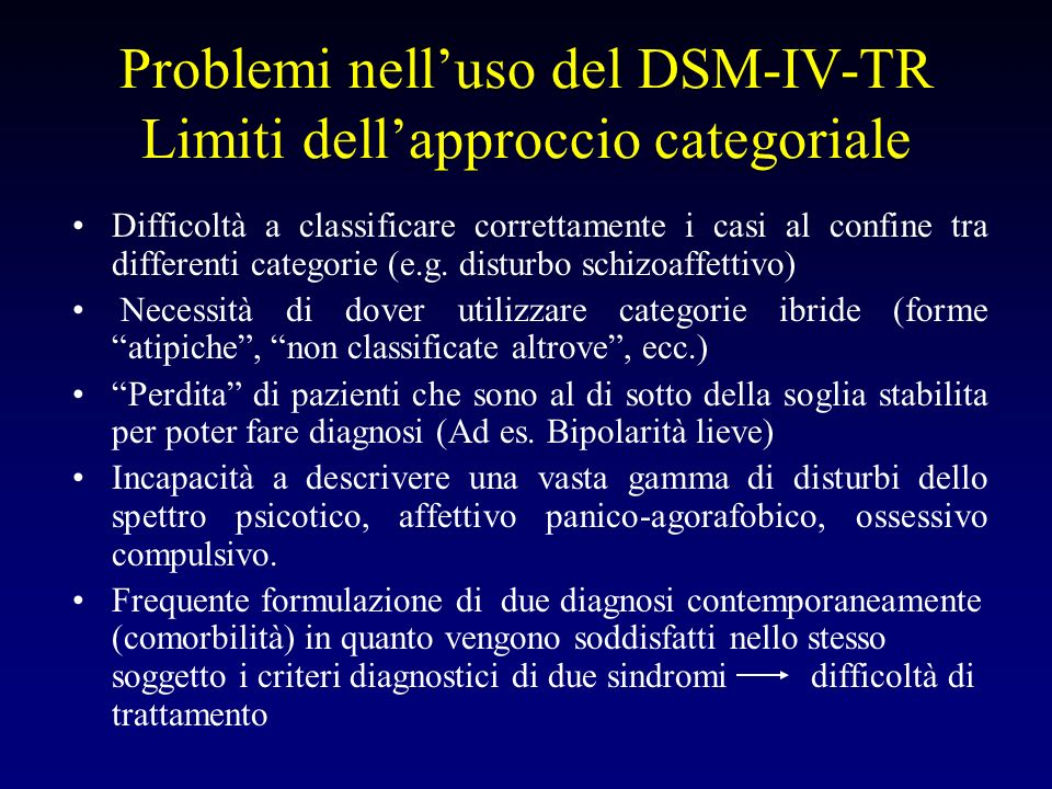 Problemi nelluso del DSM-IV-TR Limiti dellapproccio categoriale Difficoltà a classificare correttamente i casi al confine tra differenti categorie (e.
