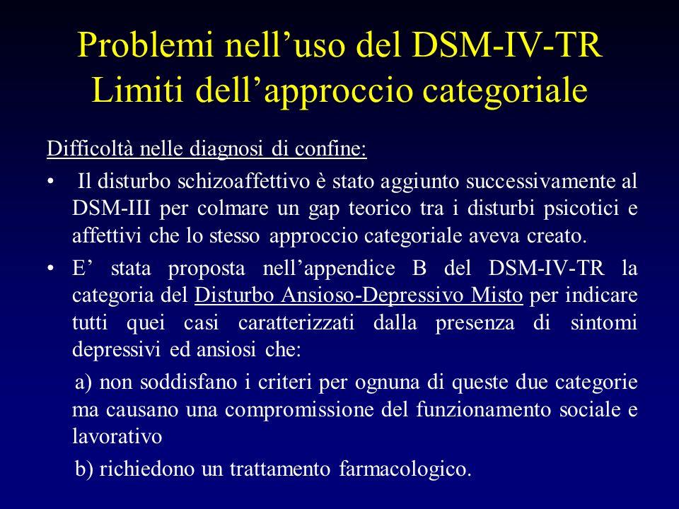 Problemi nelluso del DSM-IV-TR Limiti dellapproccio categoriale Difficoltà nelle diagnosi di confine: Il disturbo schizoaffettivo è stato aggiunto suc