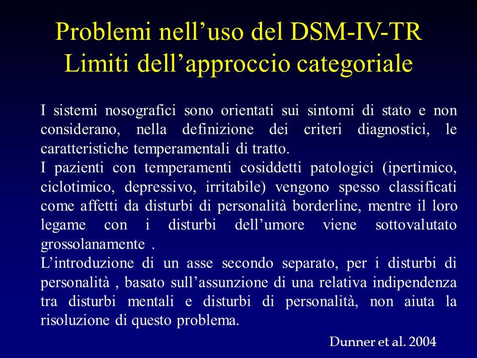 I sistemi nosografici sono orientati sui sintomi di stato e non considerano, nella definizione dei criteri diagnostici, le caratteristiche temperament
