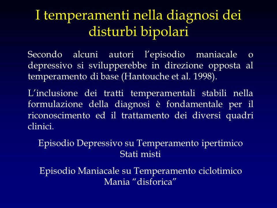 I temperamenti nella diagnosi dei disturbi bipolari Secondo alcuni autori lepisodio maniacale o depressivo si svilupperebbe in direzione opposta al te