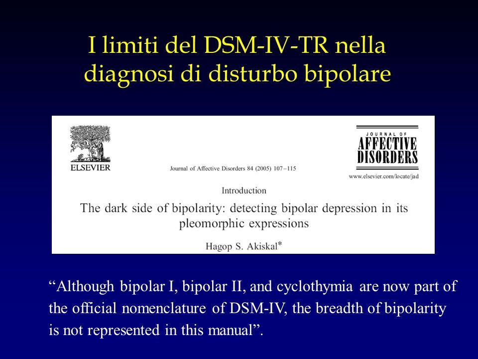 I limiti del DSM-IV-TR nella diagnosi di disturbo bipolare Although bipolar I, bipolar II, and cyclothymia are now part of the official nomenclature o