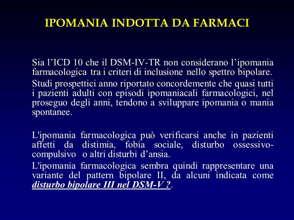IPOMANIA INDOTTA DA FARMACI Sia lICD 10 che il DSM-IV-TR non considerano lipomania farmacologica tra i criteri di inclusione nello spettro bipolare. S