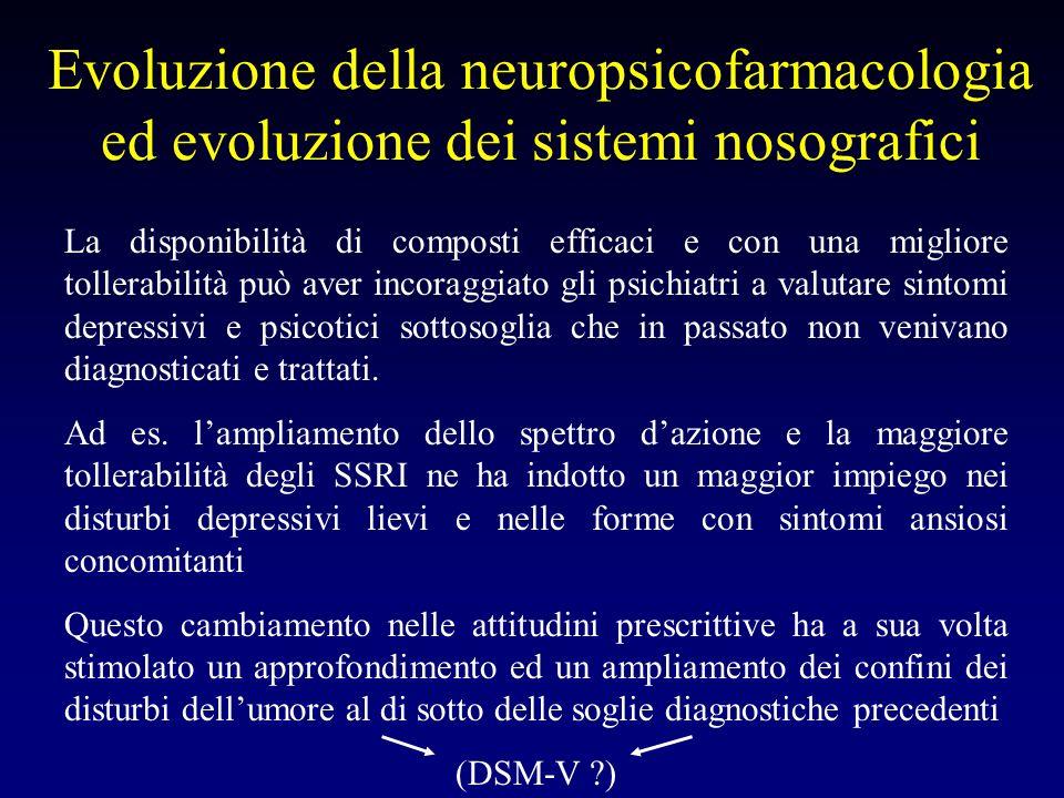 Evoluzione della neuropsicofarmacologia ed evoluzione dei sistemi nosografici La disponibilità di composti efficaci e con una migliore tollerabilità p