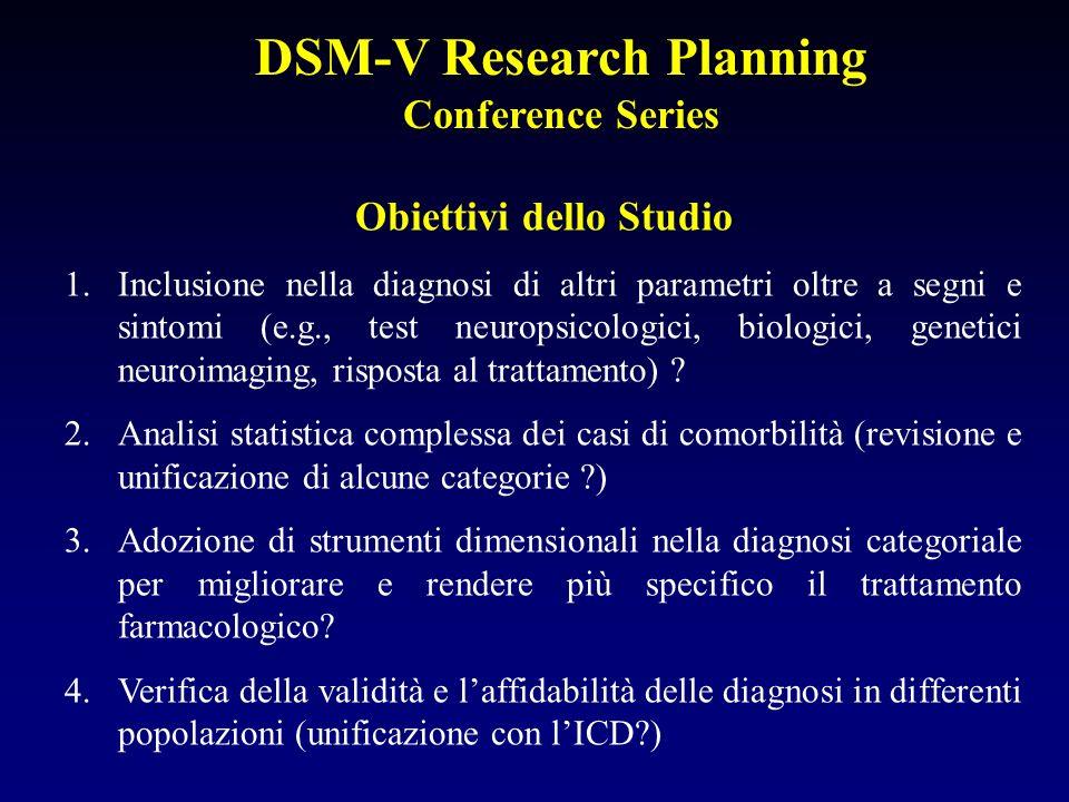 DSM-V Research Planning Conference Series Obiettivi dello Studio 1.Inclusione nella diagnosi di altri parametri oltre a segni e sintomi (e.g., test ne