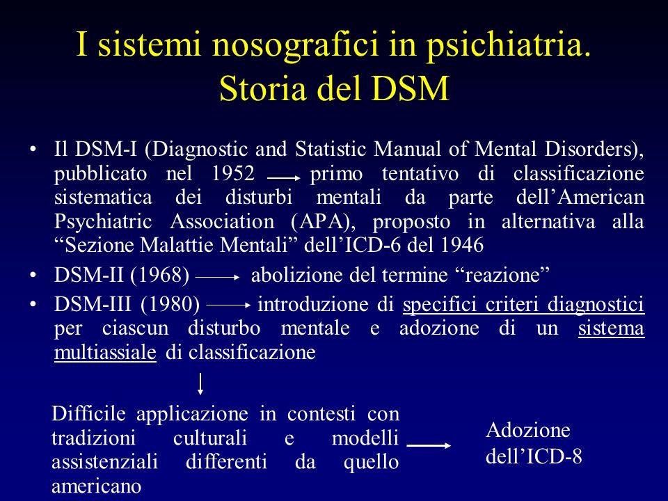 I sistemi nosografici in psichiatria. Storia del DSM Il DSM-I (Diagnostic and Statistic Manual of Mental Disorders), pubblicato nel 1952 primo tentati