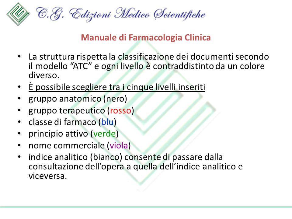 Manuale di Farmacologia Clinica La struttura rispetta la classificazione dei documenti secondo il modello ATC e ogni livello è contraddistinto da un colore diverso.