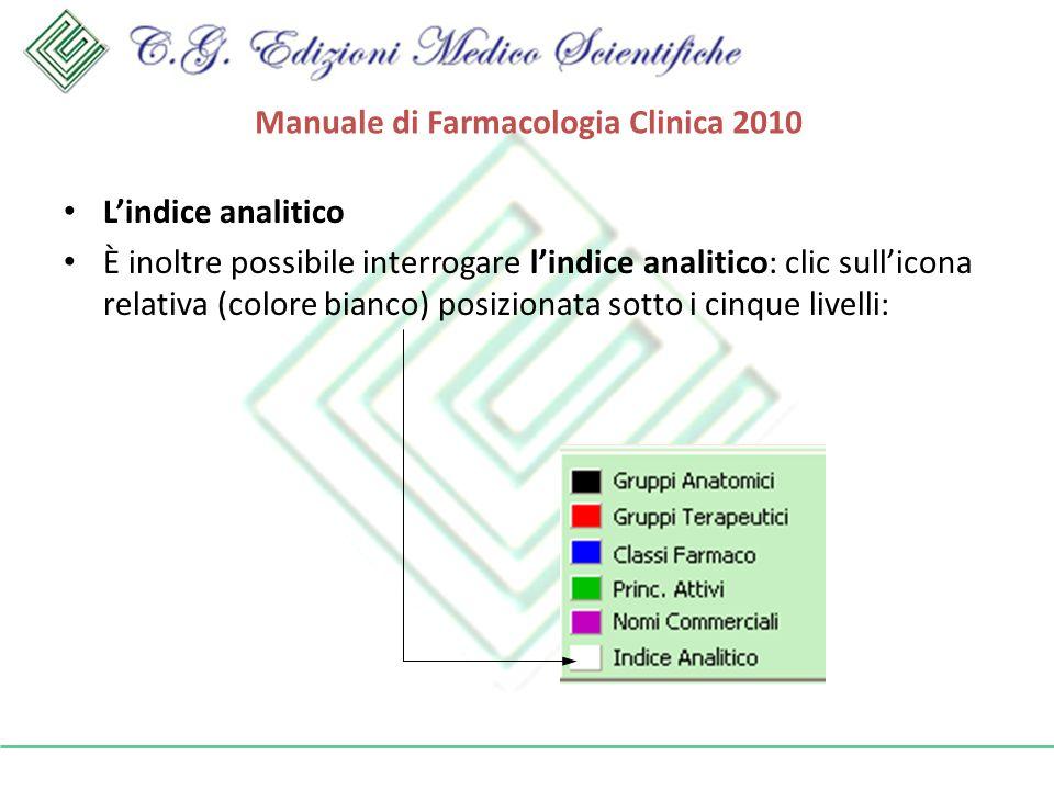 Manuale di Farmacologia Clinica 2010 Lindice analitico È inoltre possibile interrogare lindice analitico: clic sullicona relativa (colore bianco) posizionata sotto i cinque livelli: