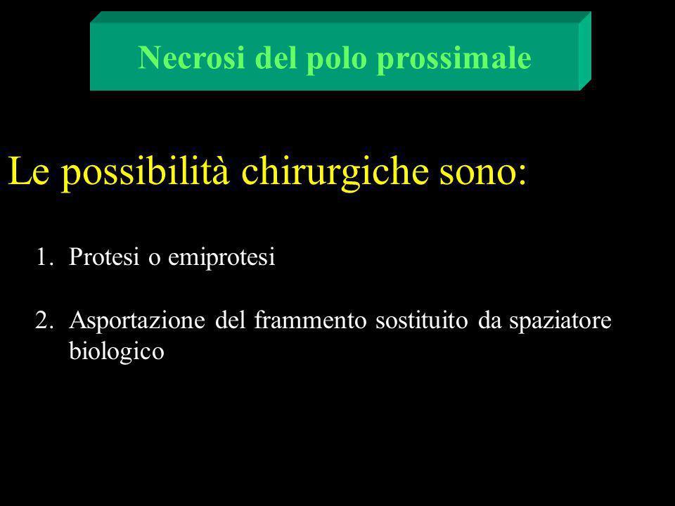 1.Protesi o emiprotesi 2.Asportazione del frammento sostituito da spaziatore biologico Necrosi del polo prossimale Le possibilità chirurgiche sono: