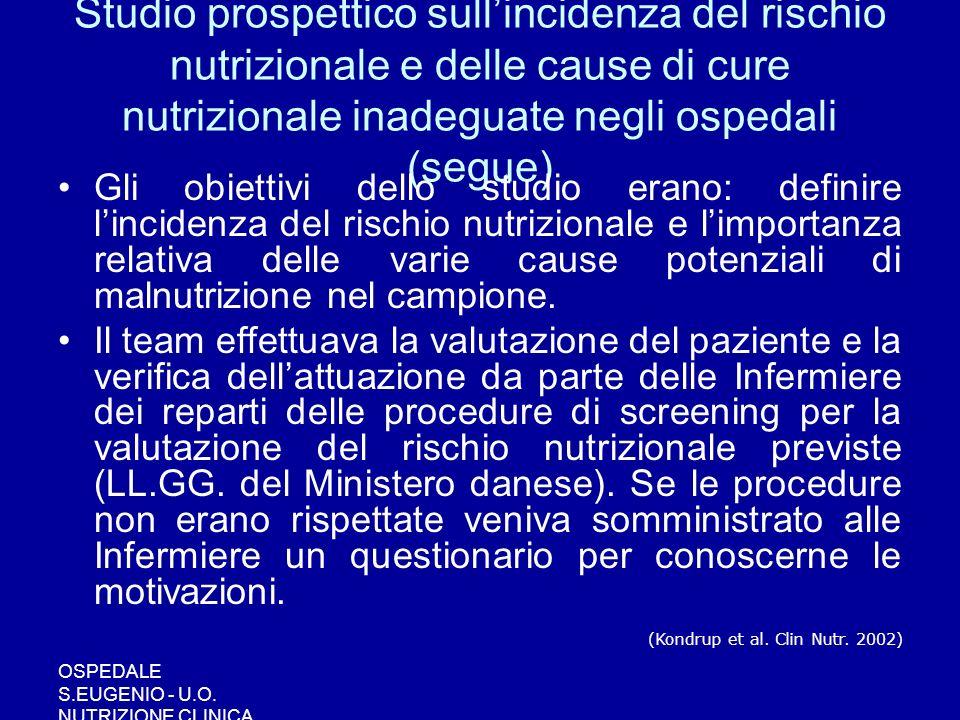 OSPEDALE S.EUGENIO - U.O. NUTRIZIONE CLINICA Studio prospettico sullincidenza del rischio nutrizionale e delle cause di cure nutrizionale inadeguate n