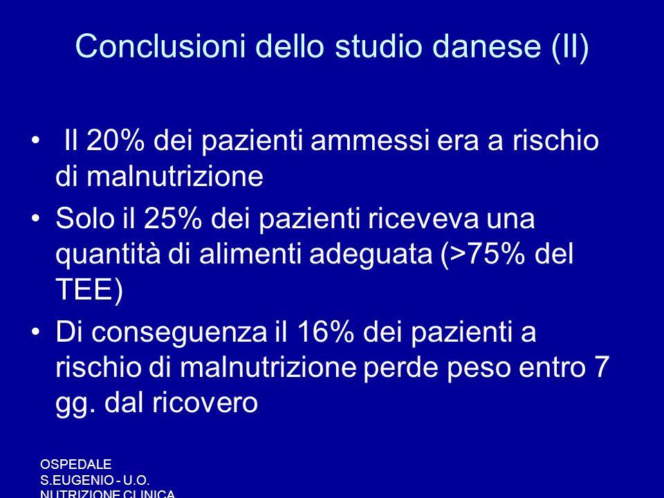 OSPEDALE S.EUGENIO - U.O. NUTRIZIONE CLINICA Conclusioni dello studio danese (II) Il 20% dei pazienti ammessi era a rischio di malnutrizione Solo il 2